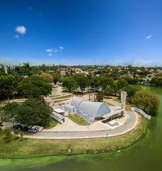 Belo Horizonte/MG, BRAZIL - October 19, 2018 - Exterior view of Sao Francisco de Assis Church in Belo Horizonte, Brazil. Designed by Oscar Niemeyer is known as the Pampulha Church.