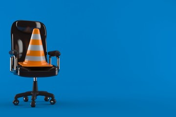 Traffic cone on business chair