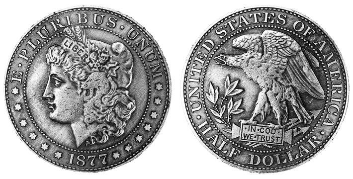 1877 Morgan silver half dollar coin