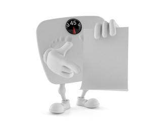 Weight scale character holding blank sheet of paper