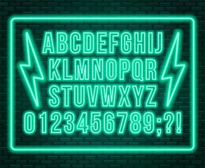 Neon blue font. Bright capital letters with numbers on a dark background.