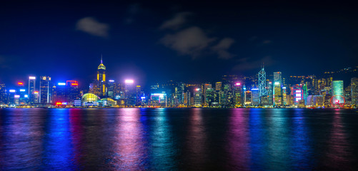 Victoria harbour with twilight at Hong Kong.