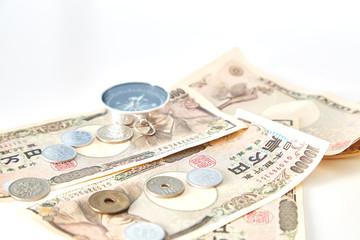 Closeup of Japanese yen notes coin
