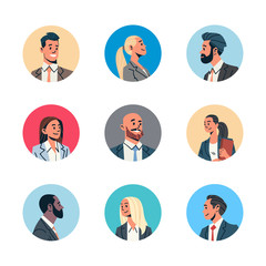 set different business people avatar man woman face profile icon concept online support service female male cartoon character portrait collection isolated flat