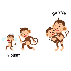 Opposite violent and gentle vector illustration