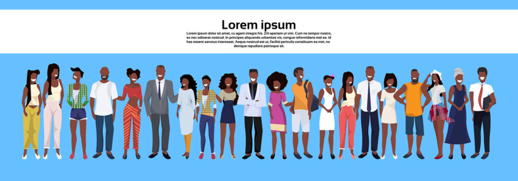 african american people group standing together set men women business casual employees workers male female cartoon character horizontal banner copy space full length flat