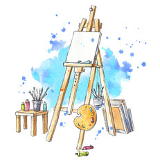 Watercolor easel at the studio, artist's workplace