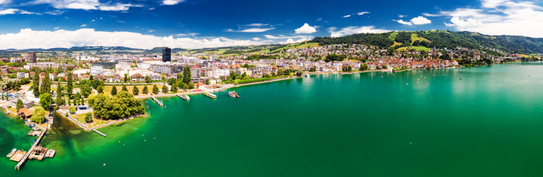 Aerial view of Zug old town with colorful houses, Zugersee and Rigi mountain, Zug, Switzerland, Europe