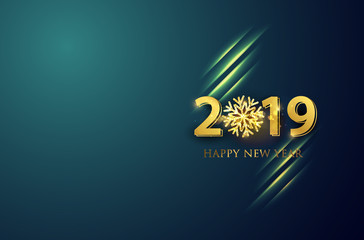 New Year 2019 line vector background. Vector brochure design template.