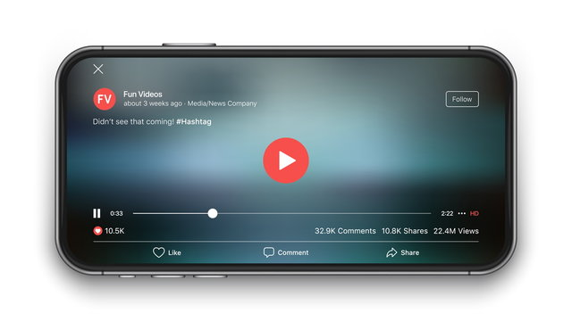 Mobile Video Player Vector UI Concept for Social Network Youtube and Facebook on Photo Realistic Frameless Smartphone Screen Isolated on White Background. Online TV Watching on Device