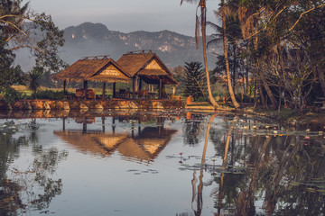 Two gazebos near the pond with mountain view in Luang Prabang, Laos