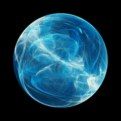 Blue glowing energy sphere with force field