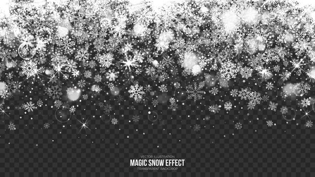Vector Merry Christmas Magic Falling Snow Border with Realistic Bright Snowflakes and Lights Overlay on Transparent Background. Xmas and Happy New Year Holidays Abstract Illustration. Design Template