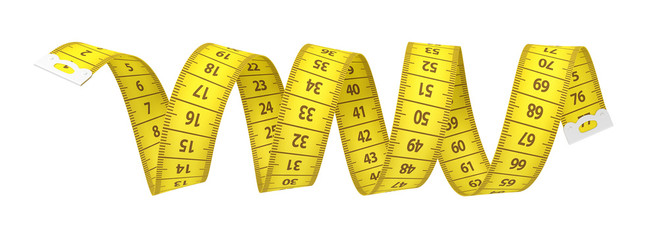3d rendering of a yellow measuring tape in the shape of a spiral isolated on white background.