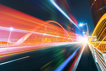 abstract image of blur motion of cars on the city road at night,Modern urban architecture in tianjin, China
