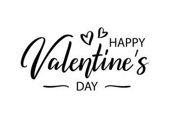 Happy Valentines Day. Modern brush lettering. Hand written romantic calligraphy with hearts. Holiday quotation typography as poster, card, postcard, invitation, banner, print. Vector illustration.