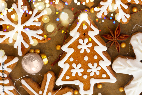 christmas gingerbread tree cooki with christmas decorations - christmas food background