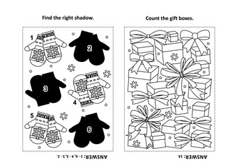 Two visual puzzles and coloring page for kids. Find the shadow for each picture of knitted mittens. Count the gift boxes. Black and white. Answers included.