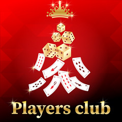 Gaming  banner for online casino, poker, roulette, slot machines, card games.stylish inscription, Player club, crown