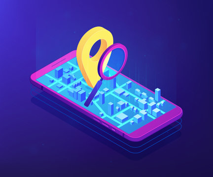 Mobile phone with navigation pin on city map app and magnifier. Mobile tracking soft, navigation mobile app, gps tracking application concept. Ultraviolet neon vector isometric 3D illustration.