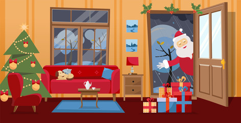 Open door and window overlooking the snow-covered trees. Christmas tree, gifts in boxes and red furniture sofa inside. Santa Claus looks in doorway, brought gifts. Flat cartoon vector illustraton