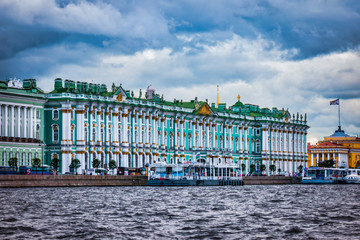 View of Hermitage building from Neva river, St Petersburg, Russia