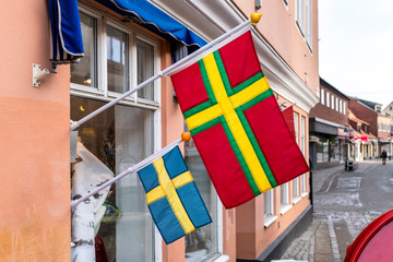 Skane and Swedish flag from the Swedish town of Ystad.