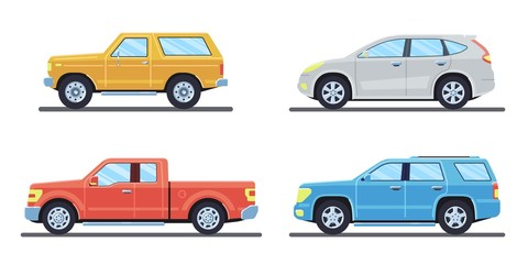 Set of personal cars. Set of automobiles in flat style. Offroad suv, pickup. Side view. Vector illustration.