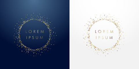 Golden sparkling ring with dust glitter graphic on dark blue ang white background. Glorious decorative glowing shiny design. Discount sign with empty center. Letter O vector logotype or zero label.
