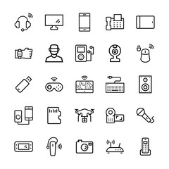 Electronics,gadgets and devices icon set. Vector symbols.