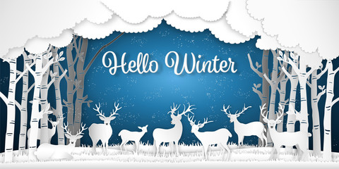 Paper art , cut and digital craft style of Reindeers or deers in forest in the snow wintry season with trees as Merry Christmas and Hello Winter concept. vector illustration