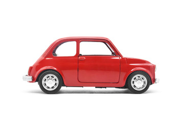 red retro car toy model isolated on white