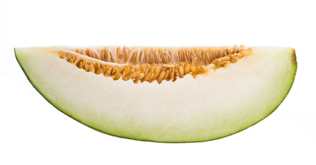 slice of Sharlyn melon a favourite of western Tajikistan and Uzbekistan isolated on white background