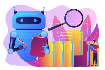 Robot doing repeatable tasks with a lot of folders and magnifier. Robotic process automation, service robots profit, automated processing concept. Bright vibrant violet vector isolated illustration