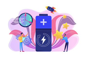 Engineers with battery charging, clock and stars with rocket. Fast charging technology, fast-charge batteries, new battery engineering concept. Bright vibrant violet vector isolated illustration