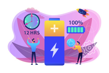 Users and battery performance and longevity with charge indicator and time. Battery runtime, extend runtime technology, long battery life concept. Bright vibrant violet vector isolated illustration