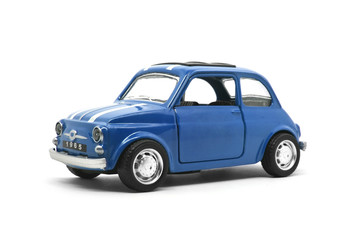 blue retro car toy model isolated on white