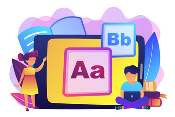 Children at tablet and with laptop using kids friendly alphabet application. Kids digital content, kids friendly media, children apps concept. Bright vibrant violet vector isolated illustration