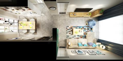 3d render of luxury modern living room