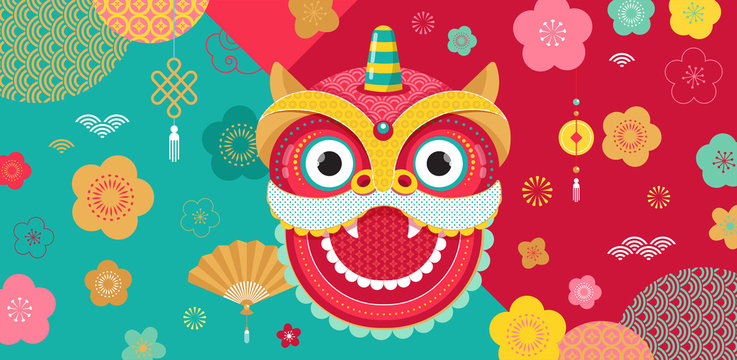 Chinese New Year background, greeting card with a lion dance, red dragon character