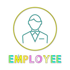 Employee Working Man Outline Vector Illustration