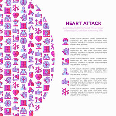Heart attack symptoms concept wiht thin line icons: dizziness, dyspnea, cardiogram, panic attack, weakness, acute pain, cholesterol level, nausea, diabetes. Vector illustration, print media template.