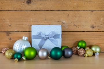 Christmas symbols decoration gift box glass ball