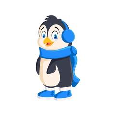 Penguin cartoon bird in high boots Illustration on white background