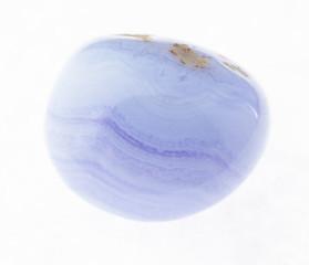 tumbled blue lace agate (sapphirine) gem on white