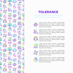 Tolerance concept with thin line icons: gender, racial, national, religious, sexual orientation, educational, interclass, for disability, human rights. Vector illustration, print media template.
