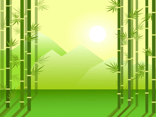 Bamboo forest grove on the background of mountains and rising sun. Cartoon flat illustration