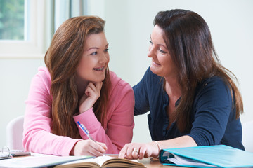 Mother Helping Teenage Daughter With Homework