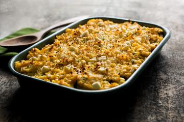 Close up of pinto bean, zucchini and corn gratin in casserole