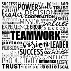 TEAMWORK word cloud collage, business concept background